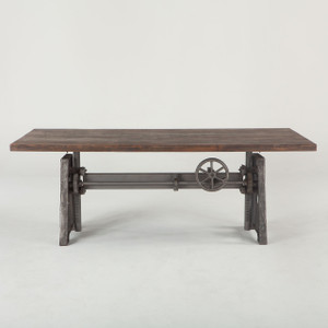 Steampunk Industrial Crank + Wood Top Work Table 84""