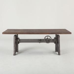 "Steampunk Industrial Crank + Wood Top Work Table 84"""