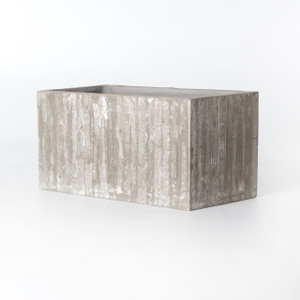 White Washed Concrete Trough Planter