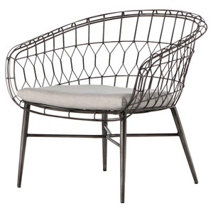 Tubman Rounded Iron Rattan Outdoor Lounge Chair