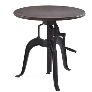"""Steampunk Industrial Wood Top Round Crank Side Table 24"""""""