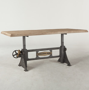 Steampunk Industrial Steel + Wood Crank Dining Table 72""