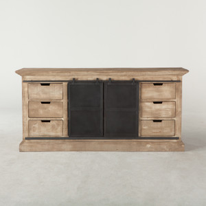 "Bethlehem Steampunk Industrial Iron + Wood Sideboard 72"""