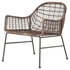 Bandera Gray Woven Wicker Outdoor Club Chair