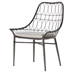 Arman Metal Rattan Scooped Outdoor Dining Chair