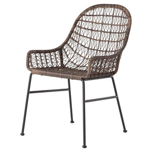 Bandera Woven Wicker Outdoor Low Arm Dining Chair