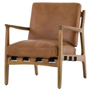 Silas Mid-Century Modern Tan Leather Arm Chair