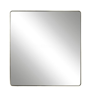 Modern Hollywood Regency Brushed Brass Square Mirror