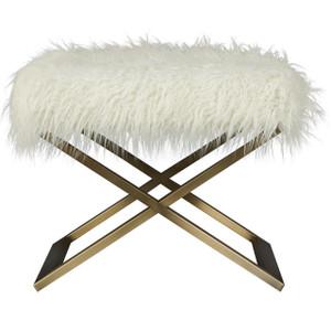 Modern Hollywood Regency Alpaca Fur Brass Leg Stool