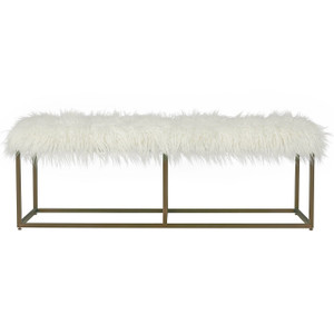 Modern Hollywood Regency White Alpaca Fur Bench