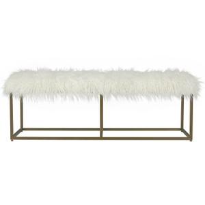 Modern Hollywood Regency White Alpaca Fur Bench