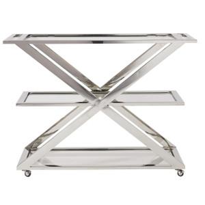 Modern Hollywood Regency Bar Cart - Nickel