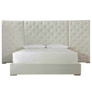 Modern Box-Tufted Extended Headboard Fabric Platform Bed - King