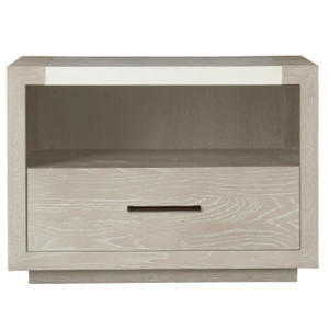 Modern Grey Oak Stone Top Huston 1 Drawer Nightstand
