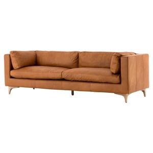 "Beckwith Mid Century Modern Camel Leather Cushion Back Sofa 94"""