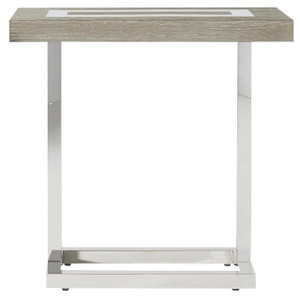 Wyatt Modern Oak Wood + Stainless Steel Side Table