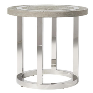 Wyatt Modern Oak Wood + Stainless Steel Round End Table