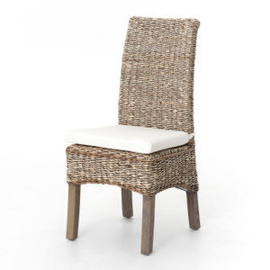 Banana Leaf Woven Dining Side Chair - Grey Wash