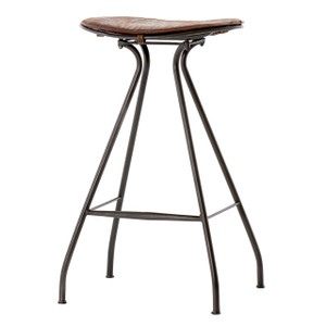 Ryder Saddle Vintage Leather + Iron Bar Stool