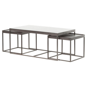 Lyn Industrial Iron and White Marble Nesting Coffee Tables