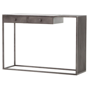 Regan Industrial Iron and White Marble Console Table 48""