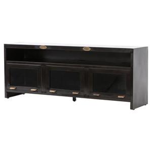 """Shadow Box Industrial Aged Iron 3 Door Media Cabinet 71"""""""