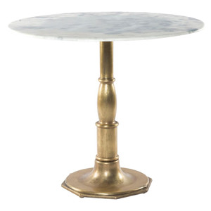 French Bistro White Marble + Brass Pedestal Round Table 36""