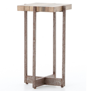 Hudson Spalted Wood and Iron Square End Table