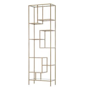 """Helena Staggered Antique Brass + Glass Shelf Bookcase 102"""""""