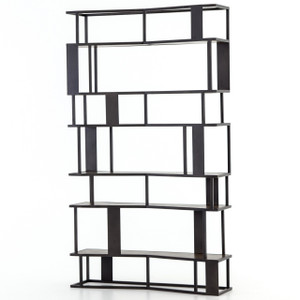 Louisa Industrial Loft Geometric Metal + Wooden Bookcase