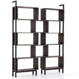 Martini Retro Industrial Iron + Oak Wood Geometric Bookshelf