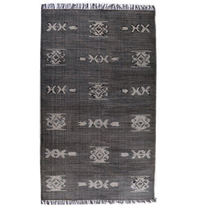 Faded Black Tribal Dhurrie Area Rug 5' x 8'