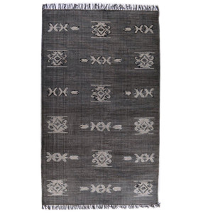 Faded Black Tribal Dhurrie Area Rug 9'X12'