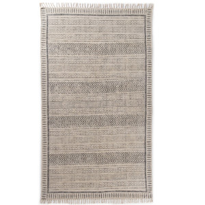 Geometric Stripe Flatweave Dhurrie Area Rug 5'X8'- Faded Black