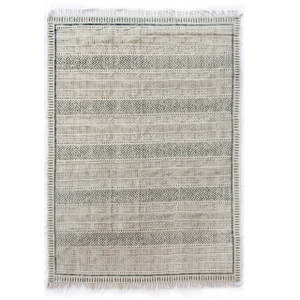 Geometric Stripe Flatweave Dhurrie Area Rug 9'X12'- Faded Black
