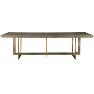 Jamison Modern Oak Top + Bronze Leg Linear Dining Table