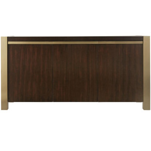 Gibson Modern Brushed Gold Mahogany Credenza Sideboard