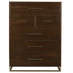 Gibson Modern Brushed Gold Mahogany 6-Drawers Chest