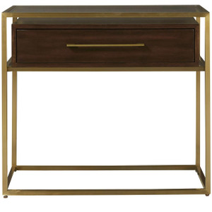Gibson Modern Brushed Gold Mahogany 1-Drawer Nightstand