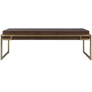 Gibson Modern Brushed Gold Mahogany Cocktail Table