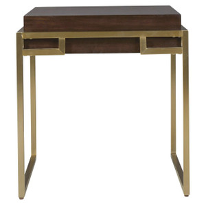 Gibson Modern Brushed Gold Mahogany End Table