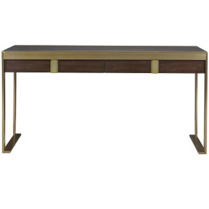 Gibson Modern Brushed Gold Mahogany 2 Drawer Writing Desk