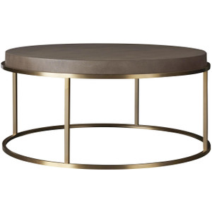 Portobello Modern Shagreen Brass Round Coffee Table 42""