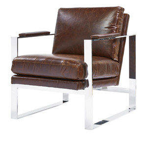 Corbin Mid Century Modern Brown Leather Arm Chair