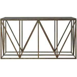 French Industrial Bronze Metal Bluestone Console Table