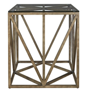 French Industrial Bronze Metal & Glass Square End Table