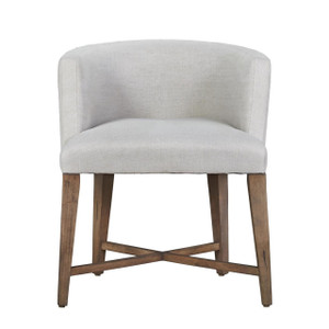 French Barrelback Slipcovered Dining Arm Chair