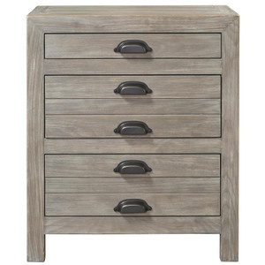 French Printer's Rustic Gray Wood 3-Drawers Nightstand
