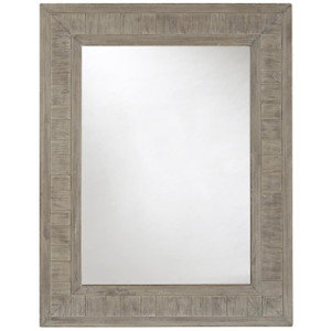 French Printer's Rustic Gray Wood Frame Mirror