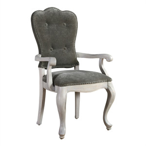 Belgian Cottage Gray Velvet Upholstered Cabriole Arm Chair